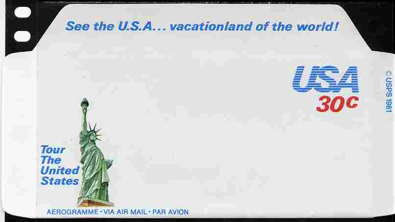 Aerogramme - United States 1981 Vacationland of the World 30c air-letter sheet (Statue of Liberty in green) folded along fold lines otherwise unused and fine