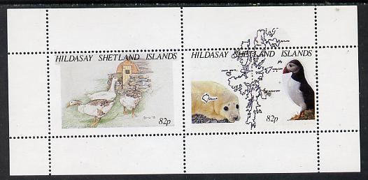 Shetland Islands 1995 Animals & Birds perf s/sheet containing 2 x 82p values unmounted mint