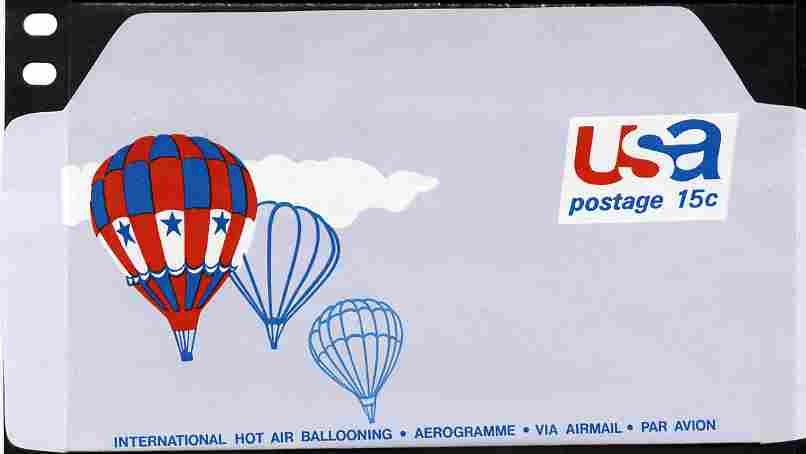 Aerogramme - United States 1970? Ballooning 15c air-letter sheet folded along fold lines otherwise unused and fine