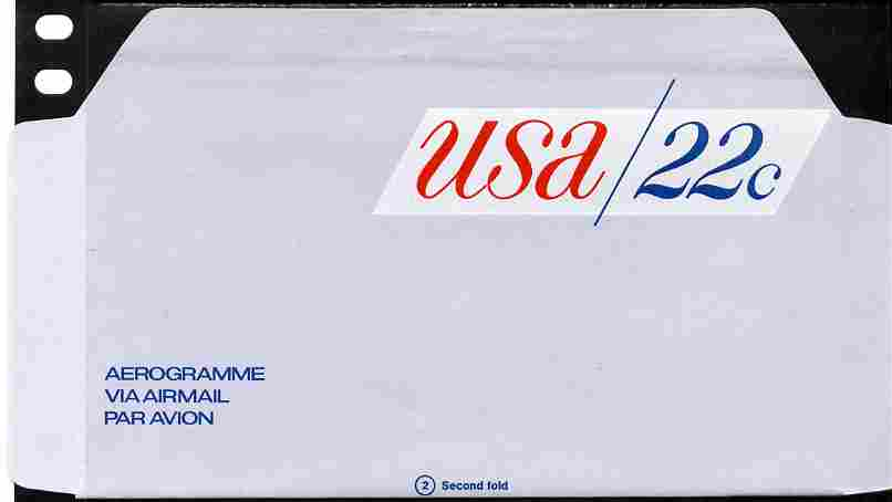 Aerogramme - United States 1979? 22c air-letter sheet folded along fold lines otherwise unused and fine