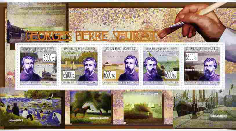 Guinea - Conakry 2009 Paintings by Georges Seurat perf sheetlet containing 5 values unmounted mint