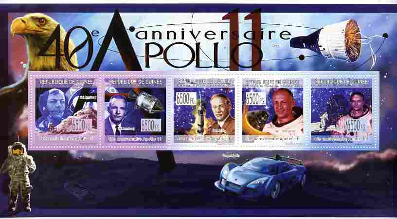 Guinea - Conakry 2009 40th Anniversary of Apollo 11 perf sheetlet containing 5 values unmounted mint