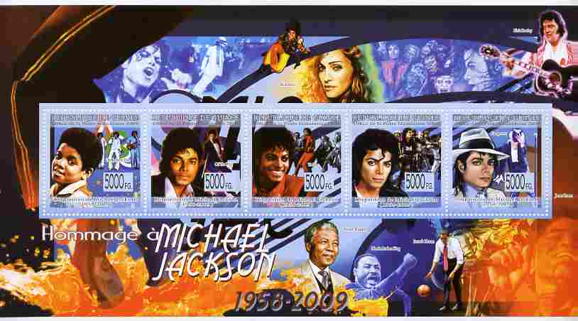 Guinea - Conakry 2009 Tribute to Michael Jackson perf sheetlet containing 4 values plus label unmounted mint, stamps on personalities, stamps on music, stamps on pops, stamps on rock, stamps on mandela, stamps on obama, stamps on usa presidents, stamps on americana, stamps on elvis