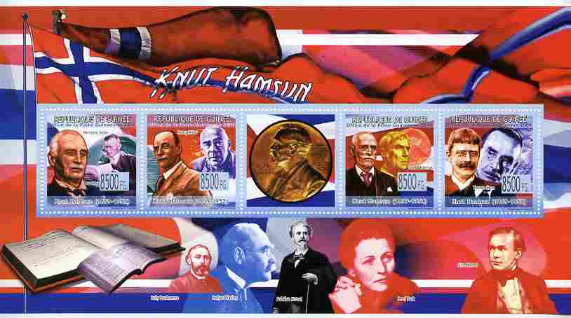 Guinea - Conakry 2009 Knut Hamsun perf sheetlet containing 4 values plus label unmounted mint
