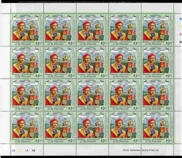 St Vincent - Bequia 1988 Explorers $3.00 (Christopher Columbus & Arms) complete perf sheet of 20 unmounted mint*.