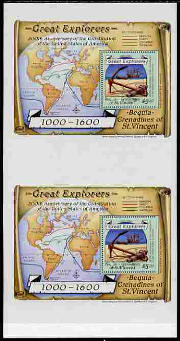 St Vincent - Bequia 1988 Explorers $5 m/sheet (Map & Anchor) vert pair each stamp being perforated on three sides only, unmounted mint from an uncut archive proof sheet, folded vertically but extremely rare.