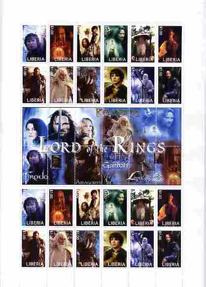 Liberia 2010 Lord of the Rings large perf sheet containing 24 stamps (2 sets of 12) plus central label