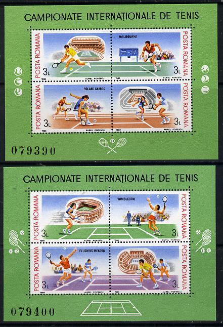 Rumania 1988 Tennis Grand-Slam Tournament set of 2 m/sheets each containing 4 values unmounted mint, Mi BL 244-45