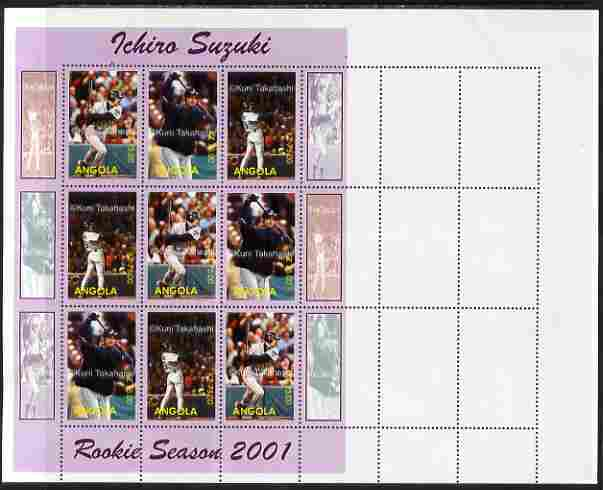 Angola 2001 Baseball Rookie Season - Ichiro Suzuki proof sheet of 9 with purple border and different images to the issued design, printed on pre-perforated sheet of 18 (s...
