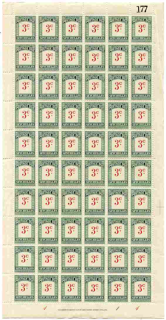 Seychelles 1951 Postage Due 3c scarlet & green wmk Script CA complete sheet of 60, creases in margin but unmounted mint, SG D2