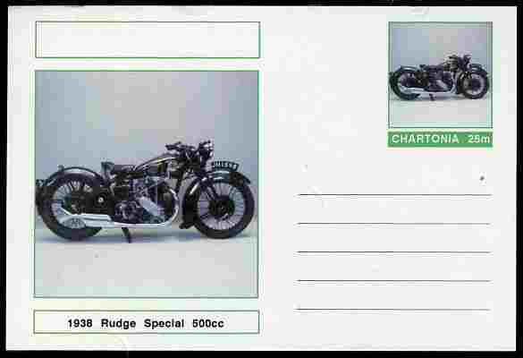 Chartonia (Fantasy) Motorcycles - 1938 Rudge Special 500cc postal stationery card unused and fine