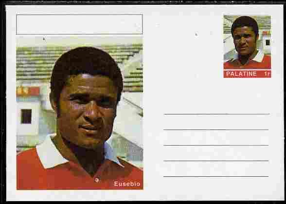 Palatine (Fantasy) Personalities - Eusebio (football) postal stationery card unused and fine