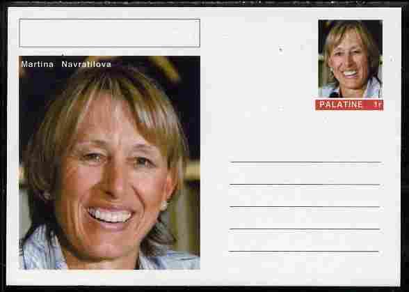 Palatine (Fantasy) Personalities - Martina Navratilova (tennis) postal stationery card unused and fine