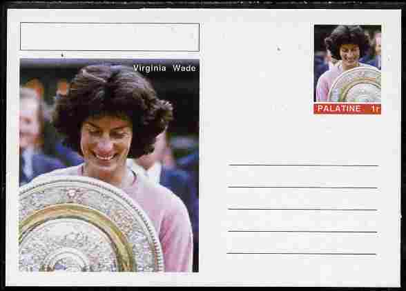 Palatine (Fantasy) Personalities - Virginia Wade (tennis) postal stationery card unused and fine