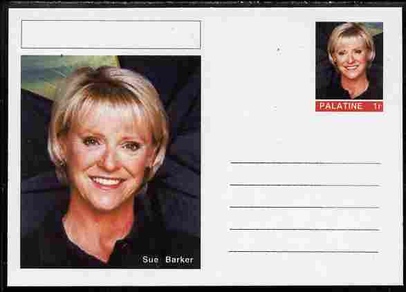 Palatine (Fantasy) Personalities - Sue Barker (tennis) postal stationery card unused and fine, stamps on personalities, stamps on sport, stamps on tennis