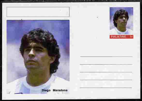 Palatine (Fantasy) Personalities - Diego Maradona (football) postal stationery card unused and fine