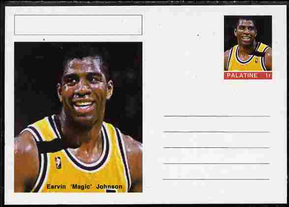 Palatine (Fantasy) Personalities - Earvin 'Magic' Johnson (basketball) postal stationery card unused and fine