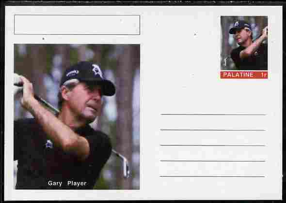 Palatine (Fantasy) Personalities - Gary Player (golf) postal stationery card unused and fine