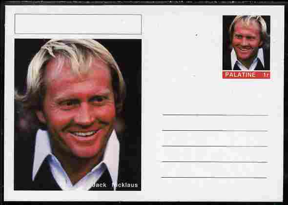 Palatine (Fantasy) Personalities - Jack Nicklaus (golf) postal stationery card unused and fine