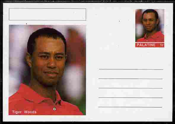 Palatine (Fantasy) Personalities - Tiger Woods (golf) postal stationery card unused and fine