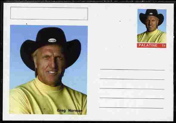 Palatine (Fantasy) Personalities - Greg Norman (golf) postal stationery card unused and fine