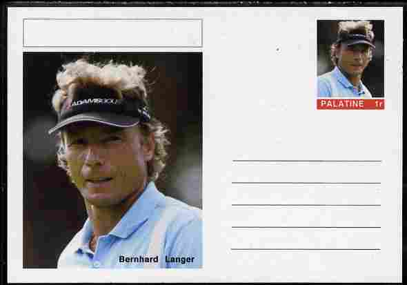Palatine (Fantasy) Personalities - Bernhard Langer (golf) postal stationery card unused and fine