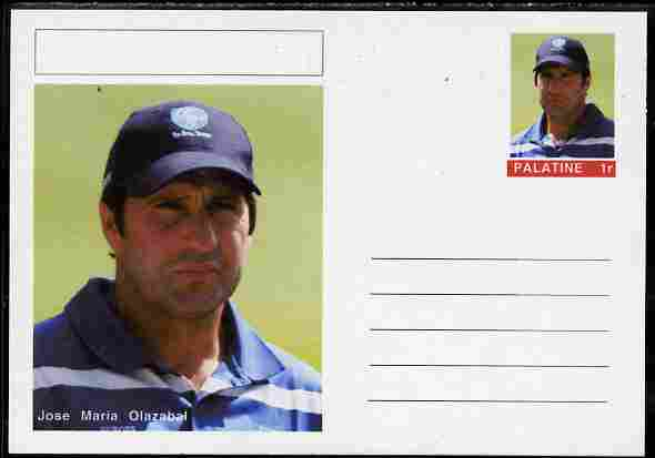 Palatine (Fantasy) Personalities - Jose Maria Olazabal (golf) postal stationery card unused and fine