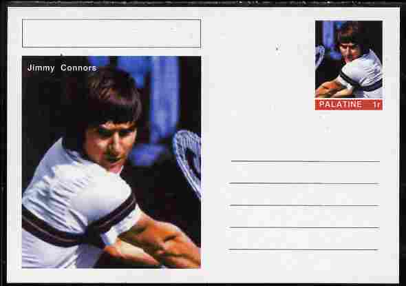Palatine (Fantasy) Personalities - Jimmy Connors (tennis) postal stationery card unused and fine