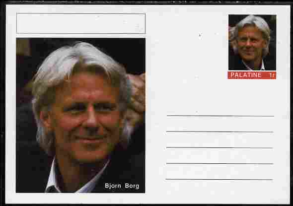 Palatine (Fantasy) Personalities - Bjorn Borg (tennis) postal stationery card unused and fine