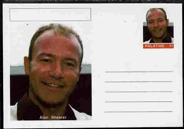 Palatine (Fantasy) Personalities - Alan Shearer (football) postal stationery card unused and fine