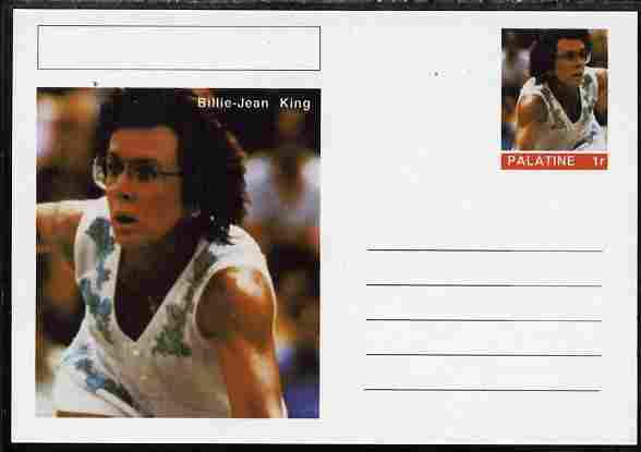 Palatine (Fantasy) Personalities - Billie-Jean King (tennis) postal stationery card unused and fine