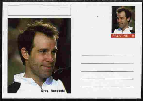 Palatine (Fantasy) Personalities - Greg Rusedski (tennis) postal stationery card unused and fine