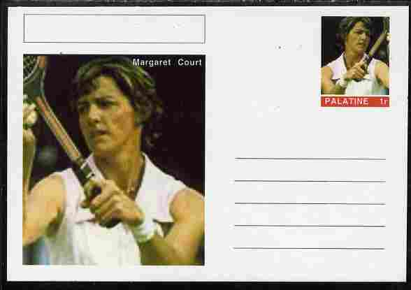 Palatine (Fantasy) Personalities - Margaret Court (tennis) postal stationery card unused and fine