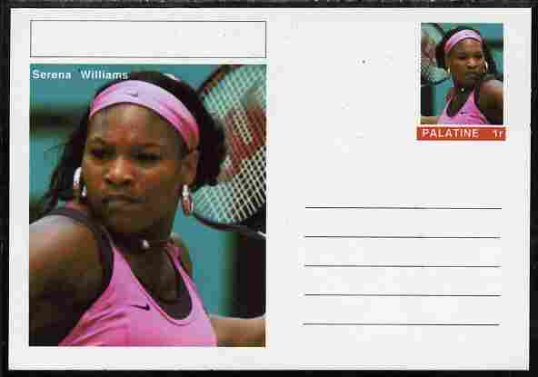 Palatine (Fantasy) Personalities - Serena Williams (tennis) postal stationery card unused and fine