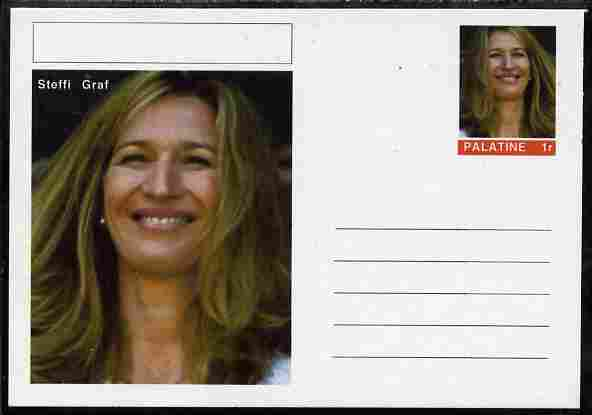 Palatine (Fantasy) Personalities - Steffi Graf (tennis) postal stationery card unused and fine