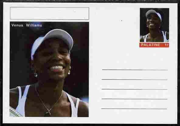 Palatine (Fantasy) Personalities - Venus Williams (tennis) postal stationery card unused and fine