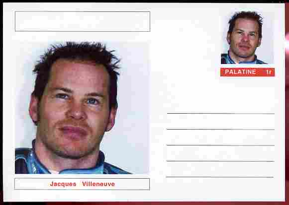 Palatine (Fantasy) Personalities - Jacques Villeneuve (F1 driver) postal stationery card unused and fine