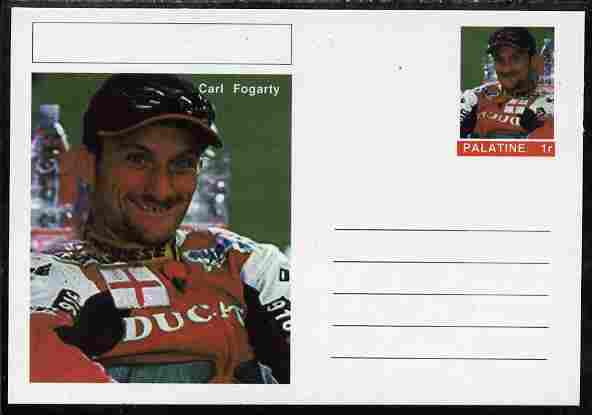 Palatine (Fantasy) Personalities - Carl Fogarty (motorbikes) postal stationery card unused and fine