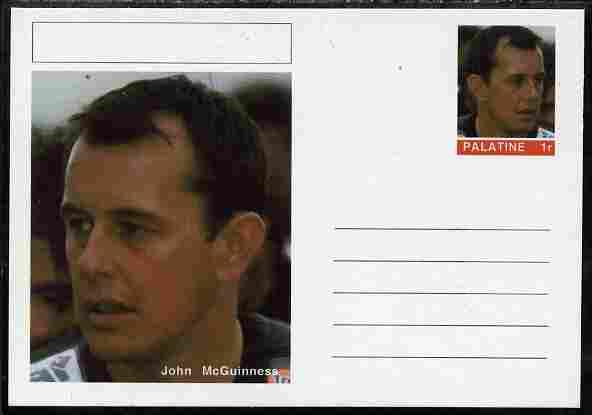 Palatine (Fantasy) Personalities - John McGuinness (motorbikes) postal stationery card unused and fine