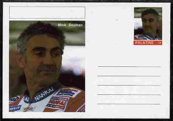 Palatine (Fantasy) Personalities - Mick Doohan (motorbikes) postal stationery card unused and fine