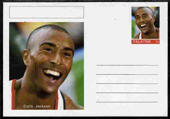 Palatine (Fantasy) Personalities - Colin Jackson (athletics) postal stationery card unused and fine