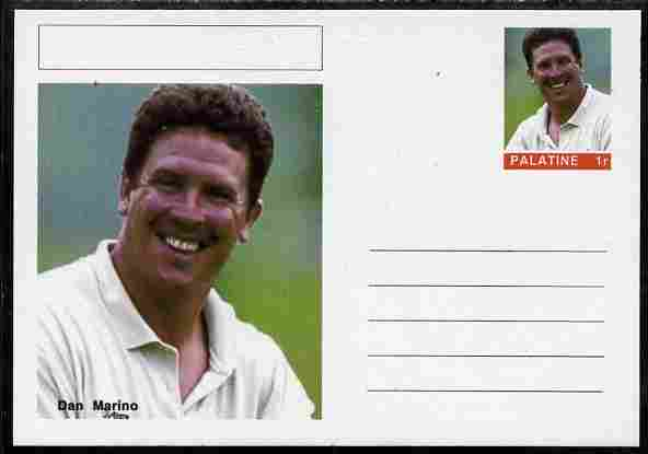 Palatine (Fantasy) Personalities - Dan Marino (American football) postal stationery card unused and fine