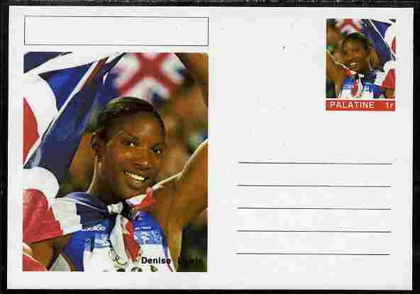 Palatine (Fantasy) Personalities - Denise Lewis (athletics) postal stationery card unused and fine