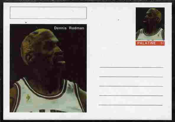 Palatine (Fantasy) Personalities - Dennis Rodman (basketball) postal stationery card unused and fine