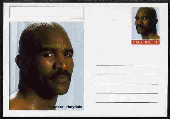 Palatine (Fantasy) Personalities - Evander Holyfield (boxing) postal stationery card unused and fine