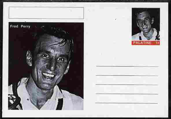 Palatine (Fantasy) Personalities - Fred Perry (tennis) postal stationery card unused and fine