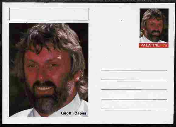 Palatine (Fantasy) Personalities - Geoff Capes (shot) postal stationery card unused and fine