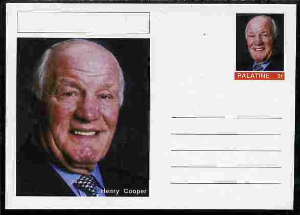 Palatine (Fantasy) Personalities - Henry Cooper (boxing) postal stationery card unused and fine