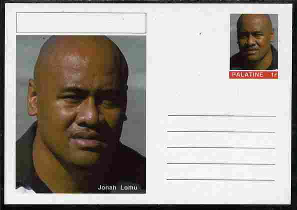 Palatine (Fantasy) Personalities - Jonah Lomu (rugby) postal stationery card unused and fine