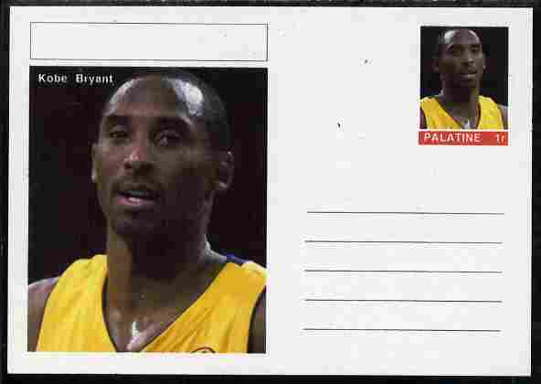 Palatine (Fantasy) Personalities - Kobe Bryant (basketball) postal stationery card unused and fine